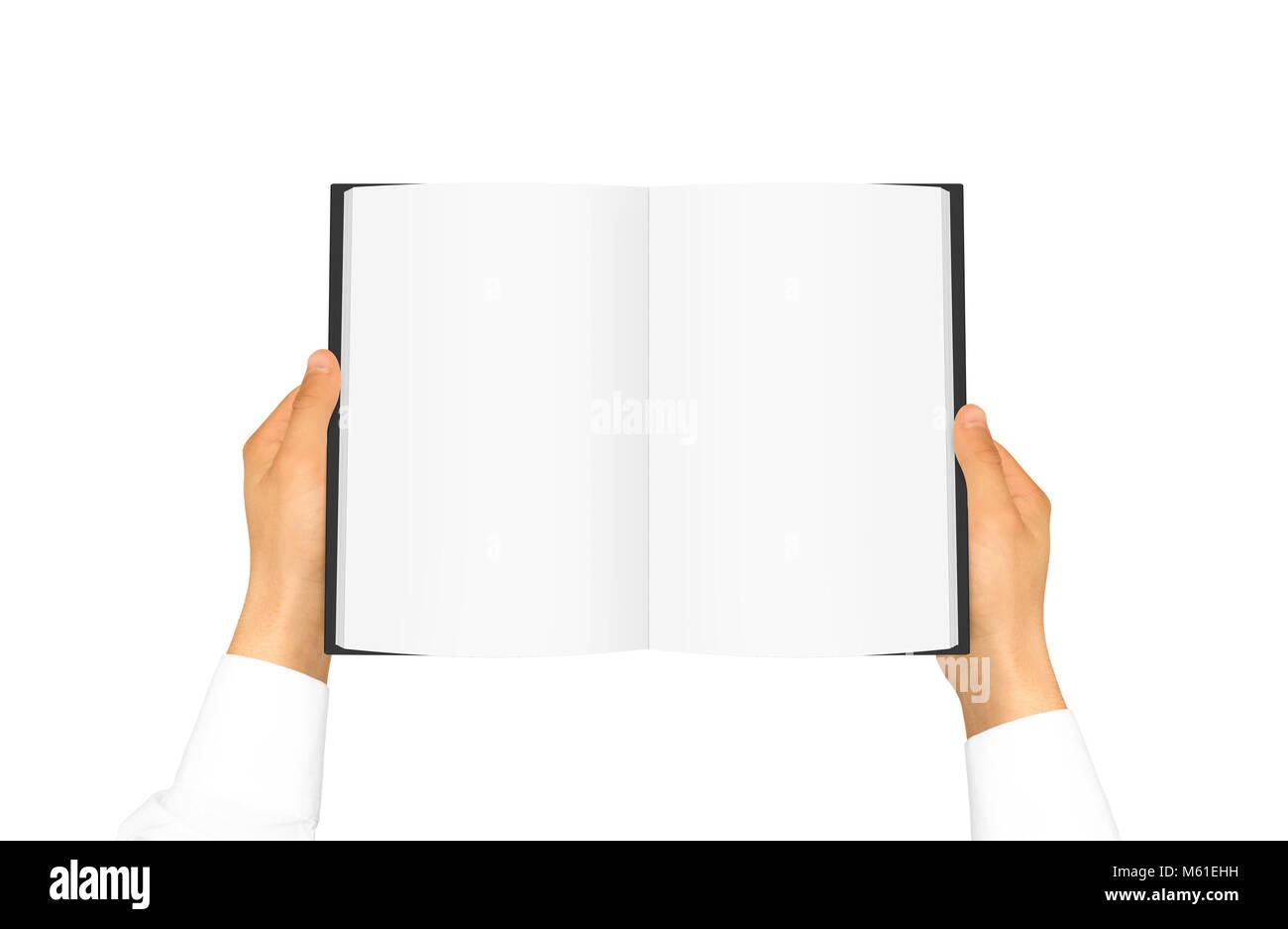 Mano en camisa blanca manga libro blanco sosteniendo en la mano ...