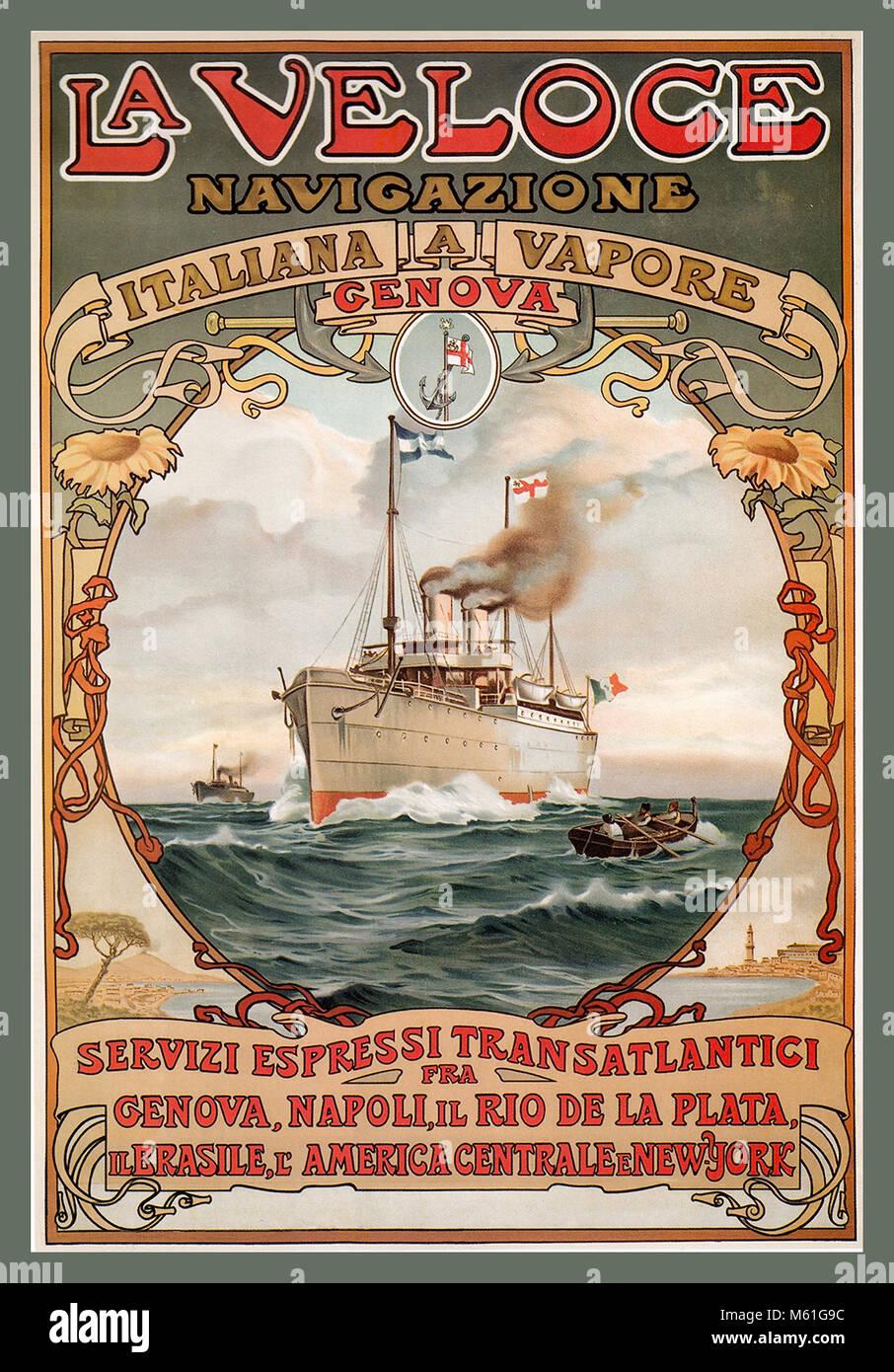 Vintage 1889 Crucero Viaje Italiano Póster Steamship La Veloce Italiana un Vapore proporcionando una ruta de Imagen De Stock