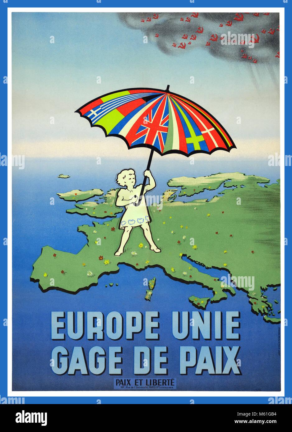 """Guerra Fría VINTAGE POST GUERRA POSTER """"Europa Unida garantía de paz"""". Cartel de propaganda Imagen De Stock"""