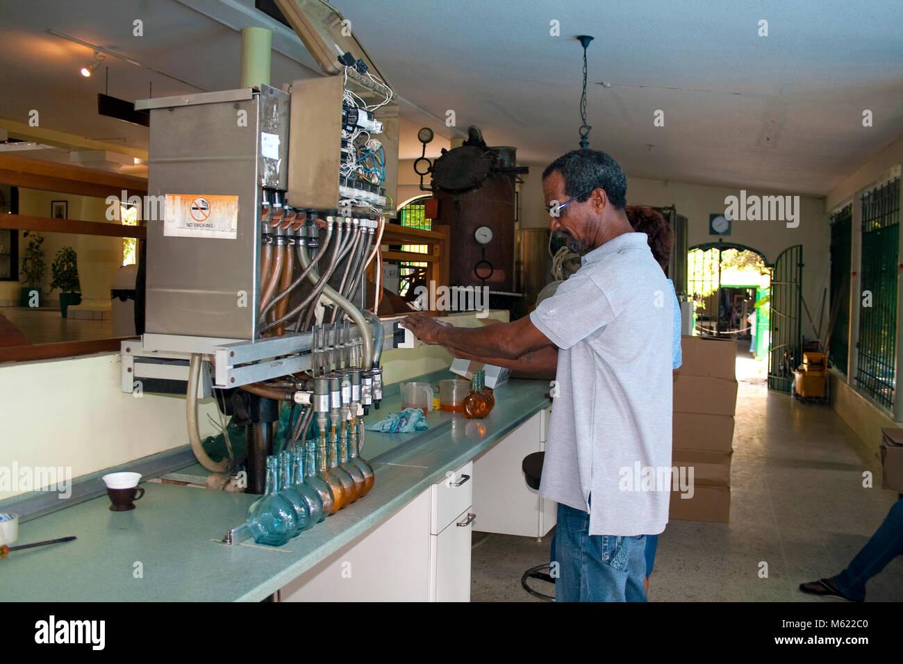 Liqueuer Chobolobo, fabricación, envasado del famoso Blue Curacao, Willemstad, Curazao, Antillas Holandesas, Imagen De Stock