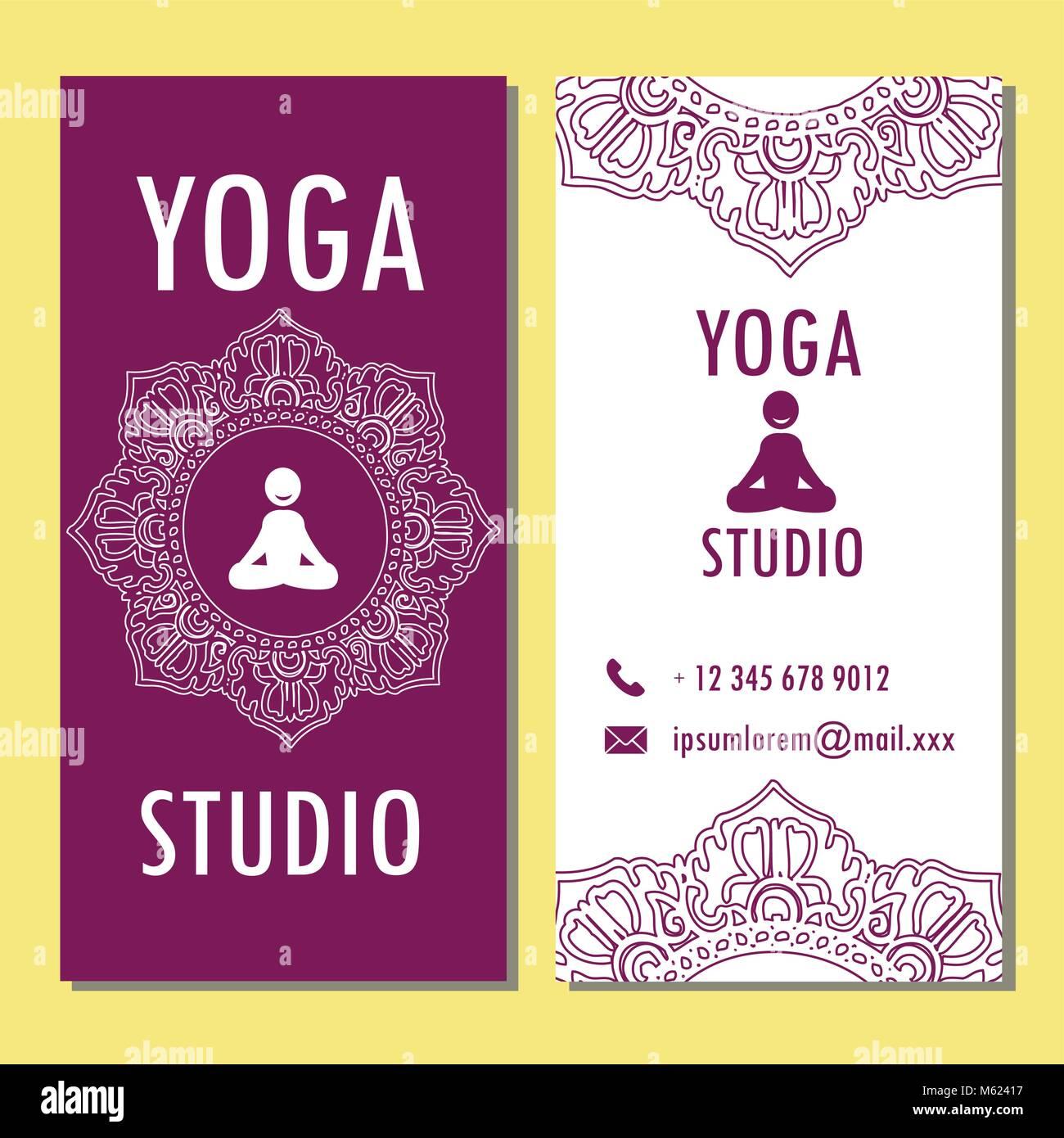 Plantilla de yoga, el folleto, póster banner. Ilustración vectorial ...