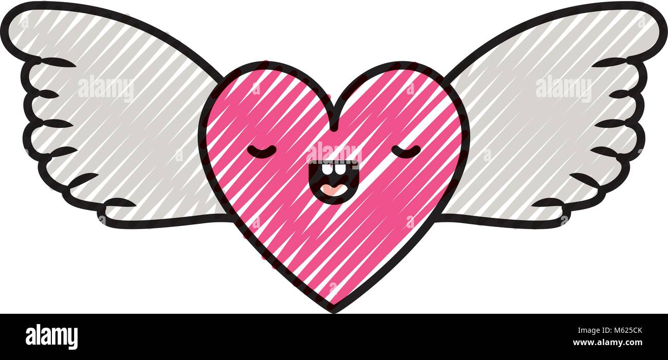 Lindo Corazón Amor Con Alas Kawaii Personaje Ilustración Del Vector