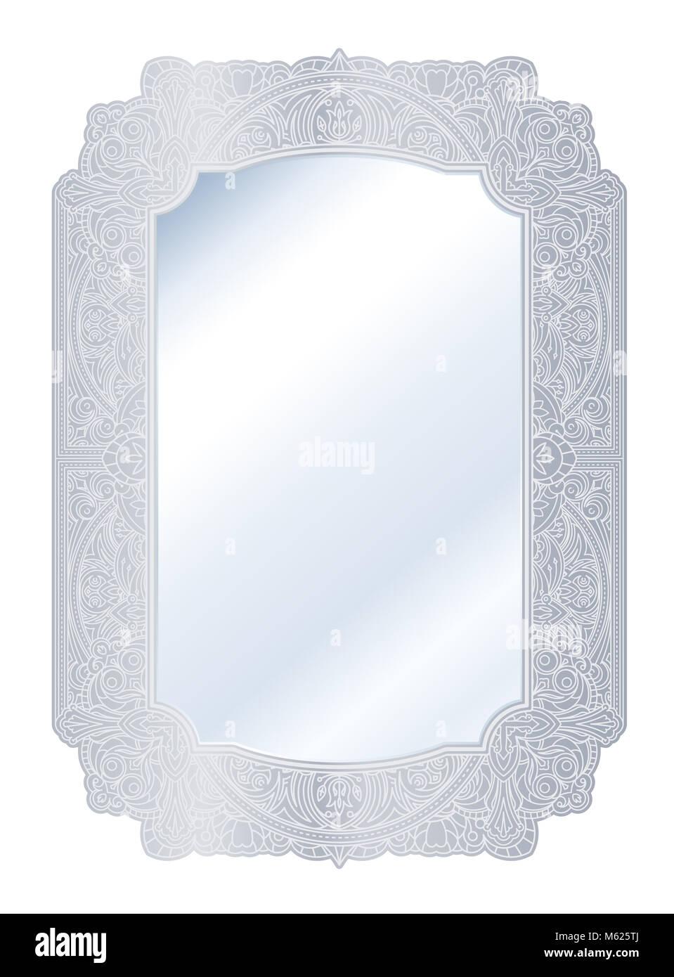 Espejo en retro vintage de plata ornamentado marco de borde ...