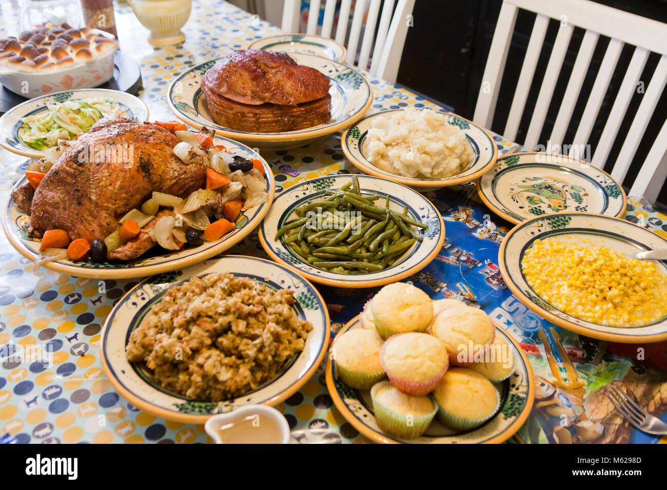 Ajuste de la tabla de la cena de Acción de Gracias - EE.UU. Imagen De Stock