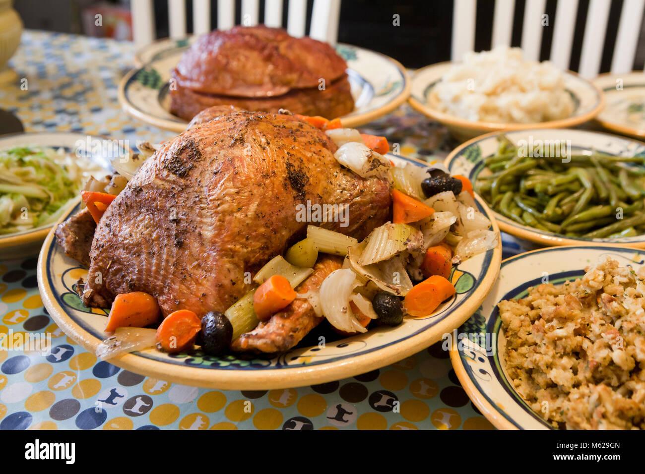 Ajuste de la tabla de cena pavo de Acción de Gracias - EE.UU. Imagen De Stock