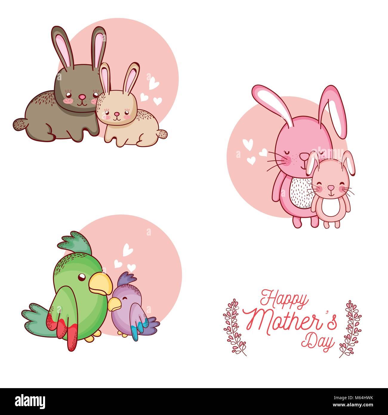 Feliz Día De La Madre Tarjeta Con Animalitos Dibujos