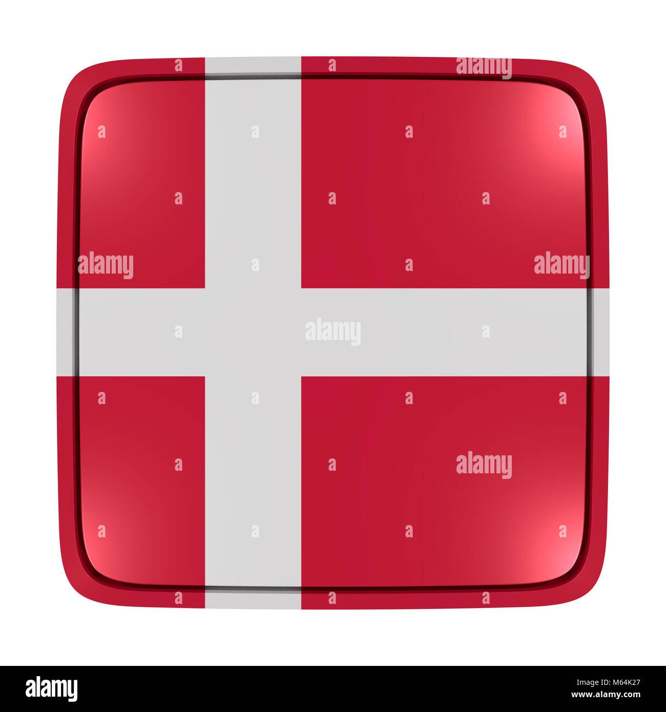 Representación 3D de un icono de bandera de Dinamarca. Aislado sobre fondo blanco. Foto de stock