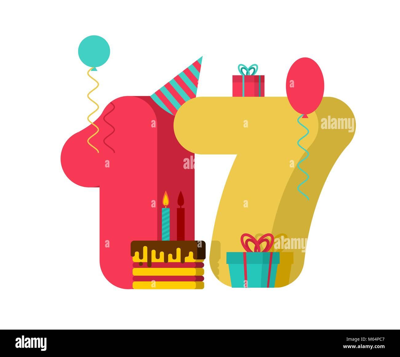 Signo De Cumpleaños De 17 Años. Tarjeta De Felicitación De