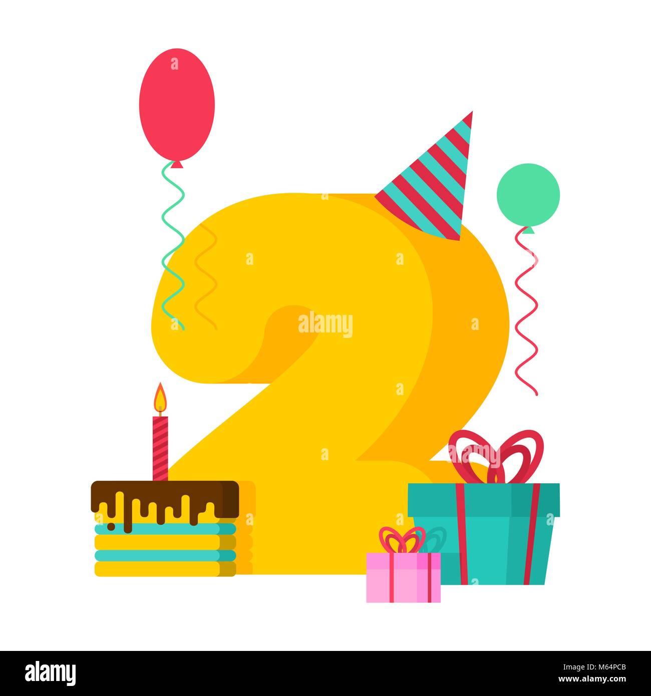 2 año feliz cumpleaños tarjeta de felicitación. 2Th aniversario ...
