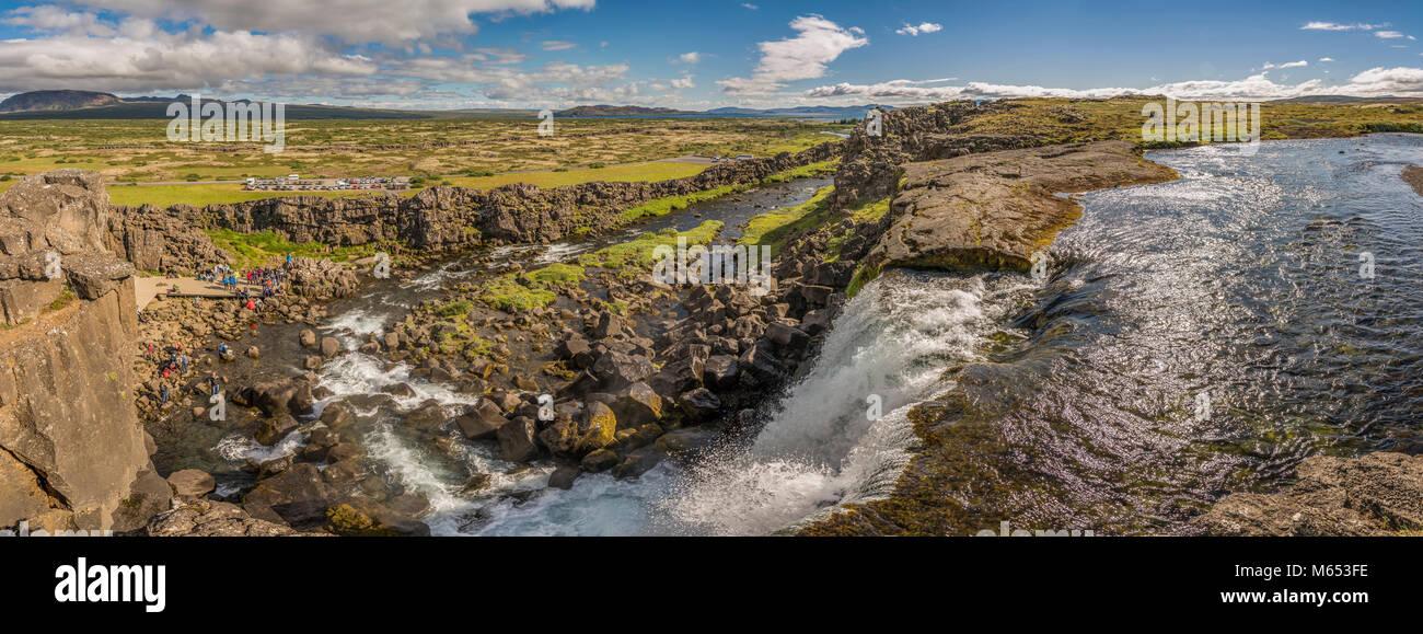 El Parque Nacional de Thingvellir, un sitio del Patrimonio Mundial de la Unesco, Islandia. Foto de stock