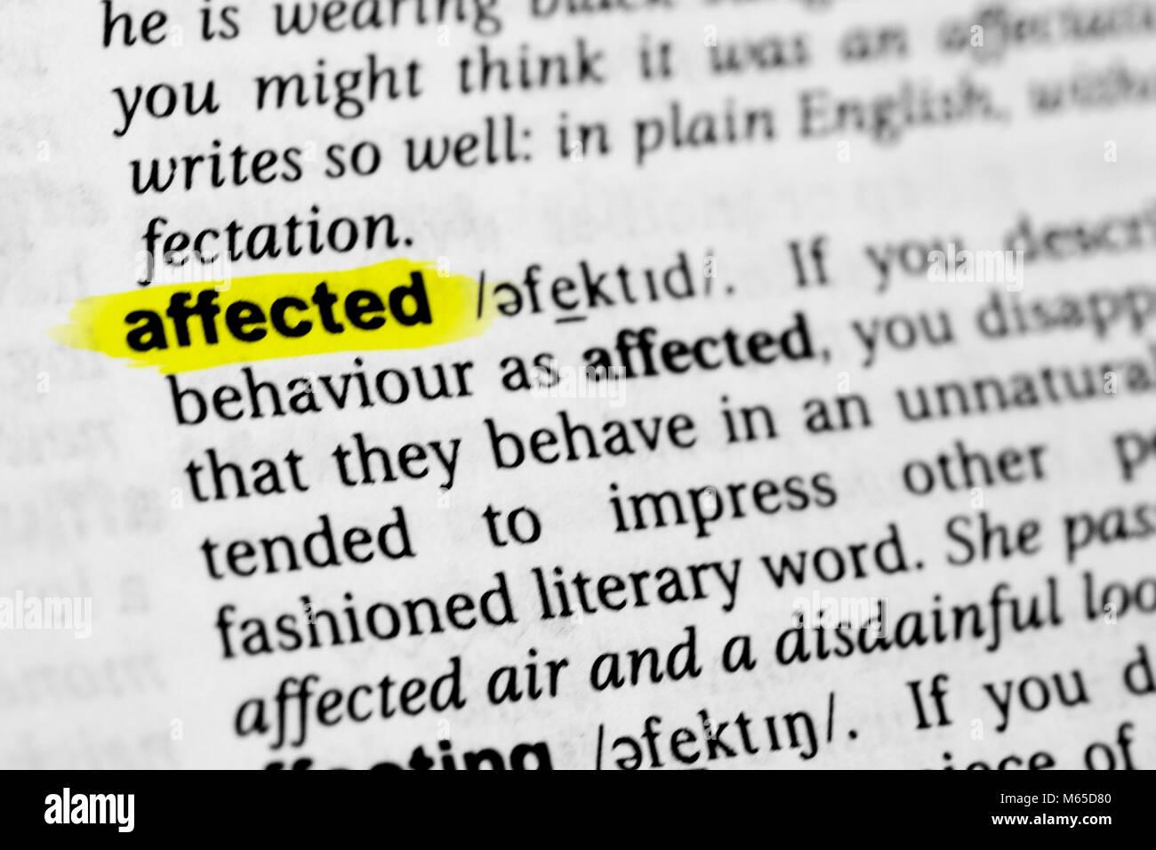 """Destacó palabra inglesa """"afectados"""" y su definición en el diccionario. Imagen De Stock"""