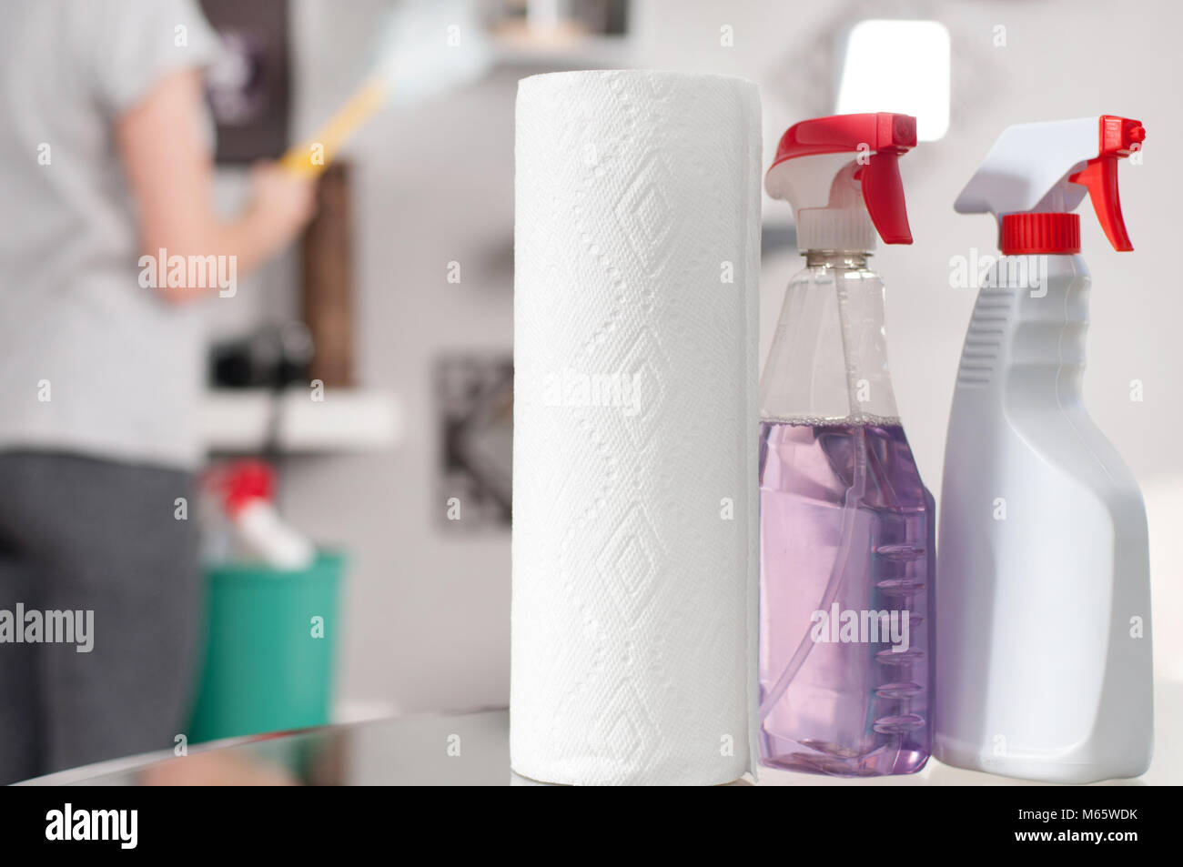 Suministros de limpieza. Limpiador profesional haciendo limpieza Imagen De Stock