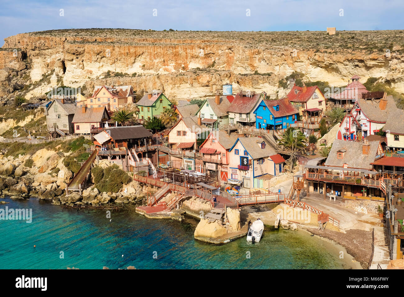 Poppeye village, Malta. La famosa película y atracción turística en la isla. Foto de stock