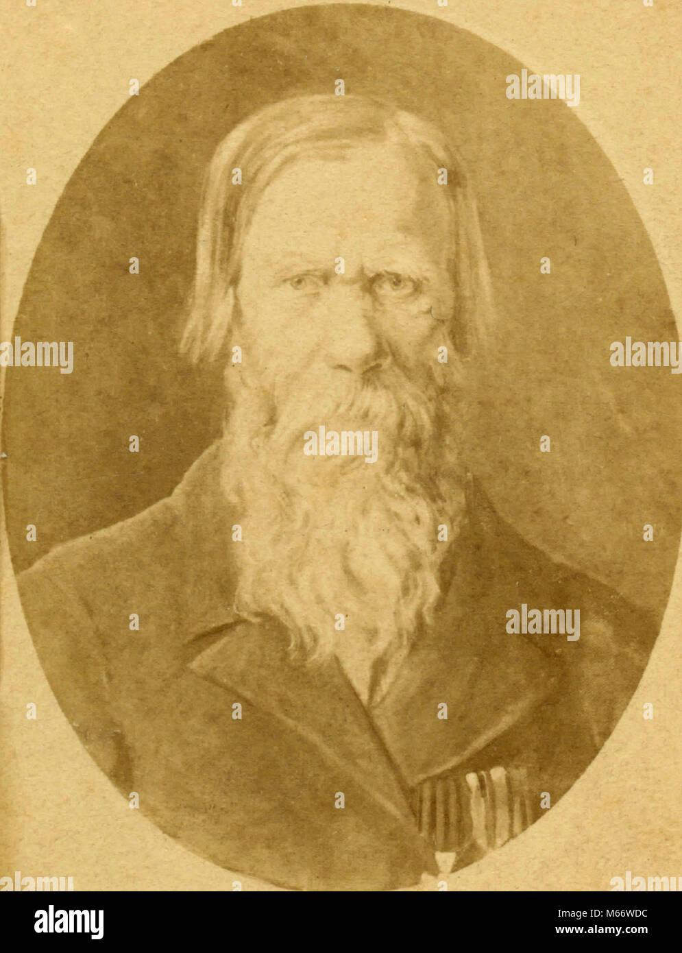Retrato de un viejo hombre barbado, Italia 1850 Foto de stock