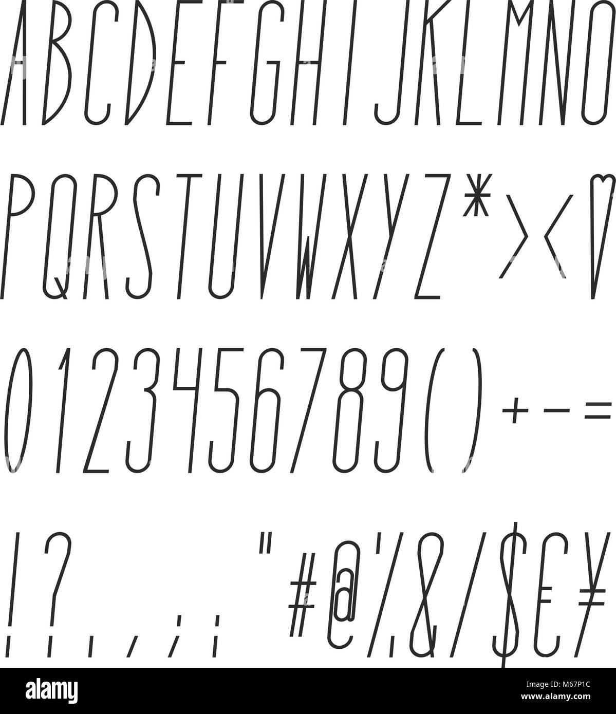 Alto y flaco Cursiva Alfabeto, números y símbolos Ilustración del Vector