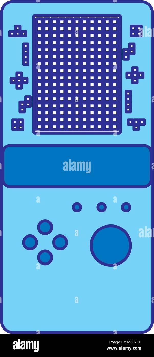 Consola De Juegos Portatil Retro Juego Tetris Ilustracion Vectorial