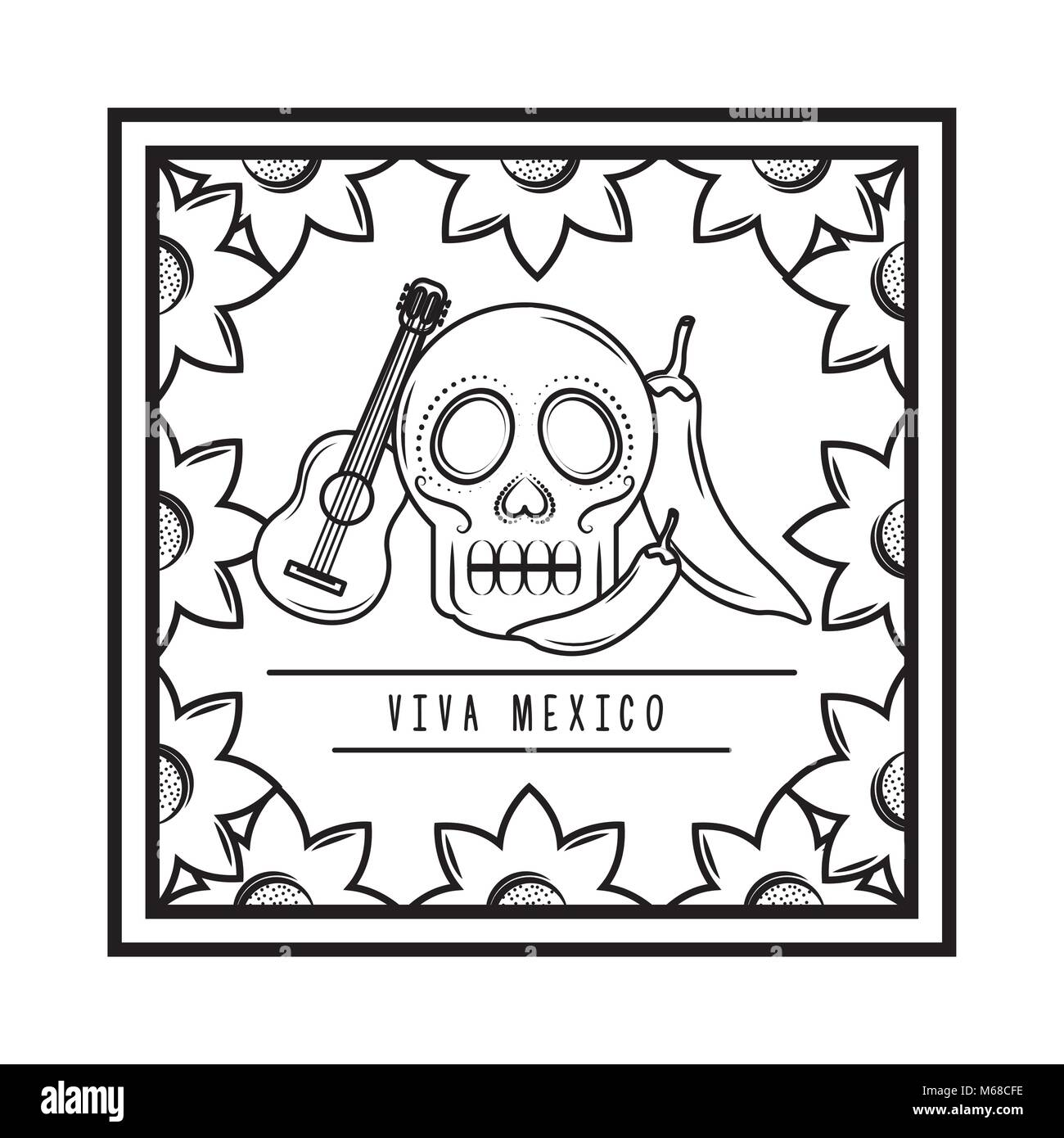Viva México cráneo guitarra chili pepper marco floral ilustración ...