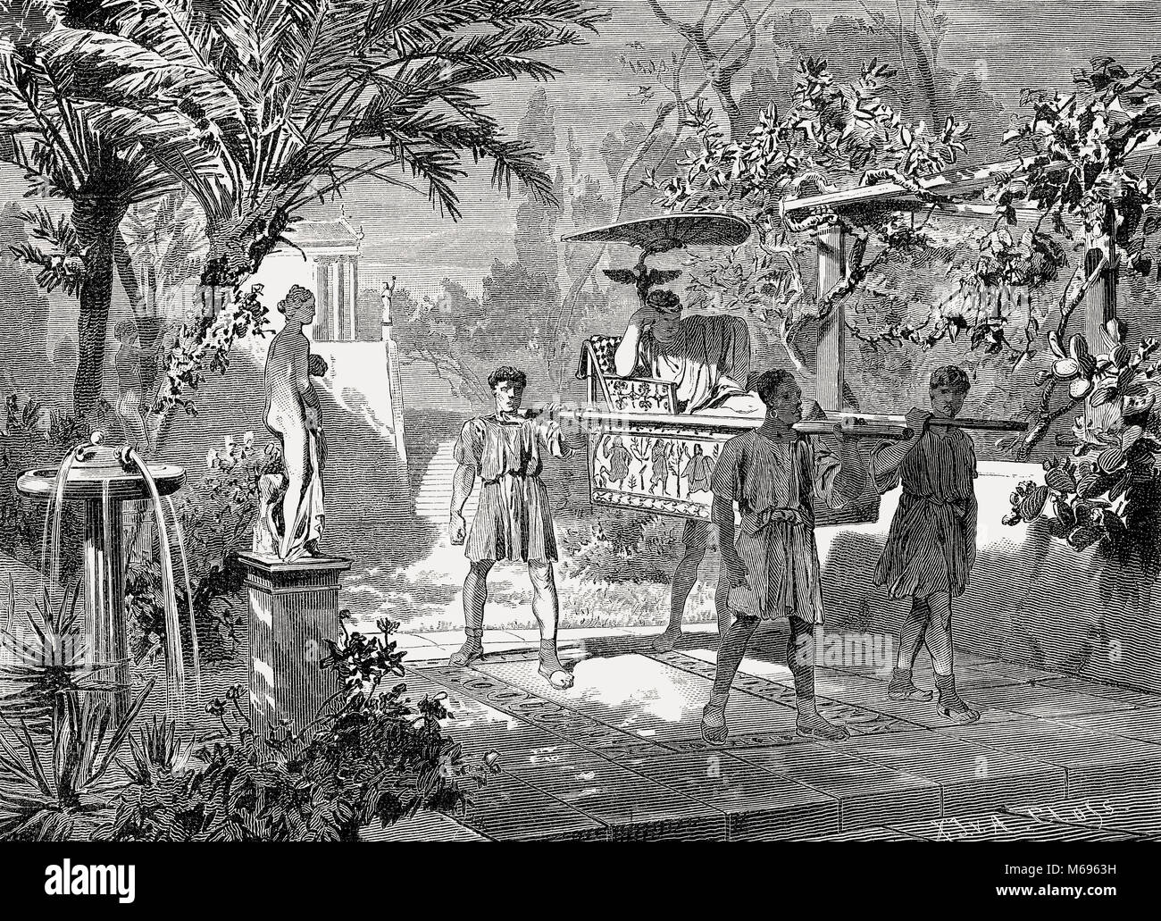 La escena del jardín, la silla del sedán, la antigua Roma, siglo III Imagen De Stock