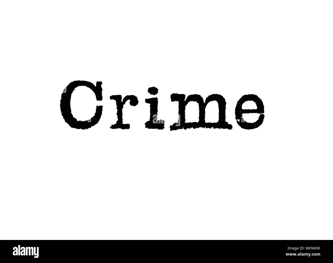 La palabra crimen desde una máquina de escribir sobre un fondo blanco. Foto de stock