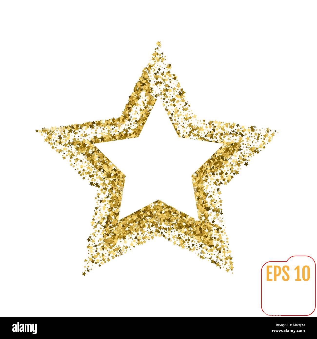 Golden Star vector bandera sobre fondo blanco. Glitter Gold Star ...