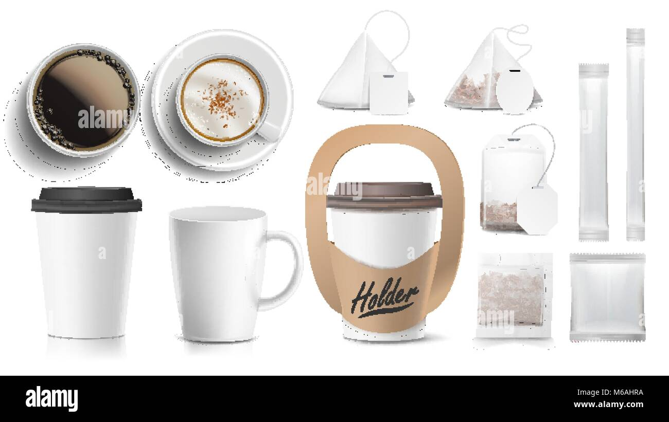 Diseño De Packaging De Café Vector. Tazas De Maquetas