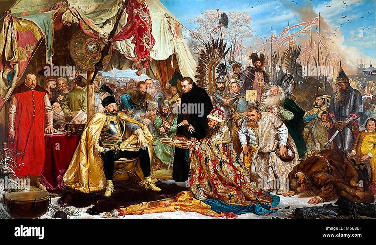 El asedio de Pskov desde la perspectiva polaca: Batory en Pskov, 1579. Pintura de Jan Matejko en 1872. Pintura alegórica Imagen De Stock