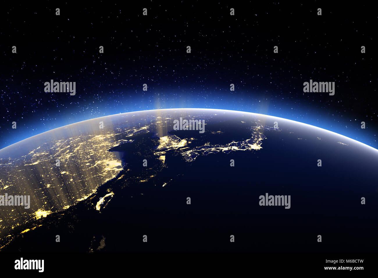 La tierra desde el espacio plano del mundo. 3D rendering Imagen De Stock