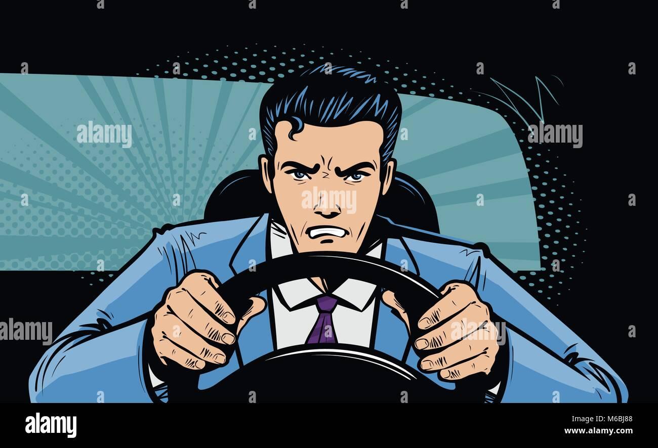 Conductor agresivo al volante del coche. La raza, la persecución en pop art comic estilo retro. Ilustración Imagen De Stock