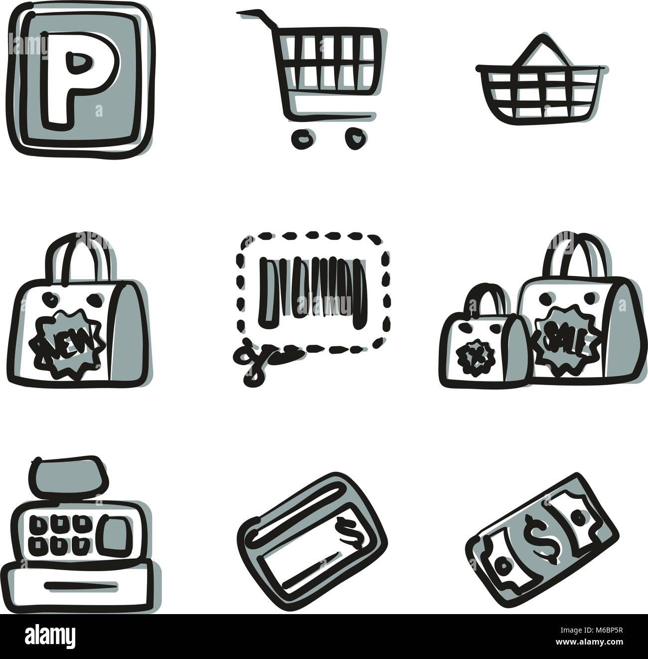 Iconos de supermercados Freehand 2 Color Ilustración del Vector