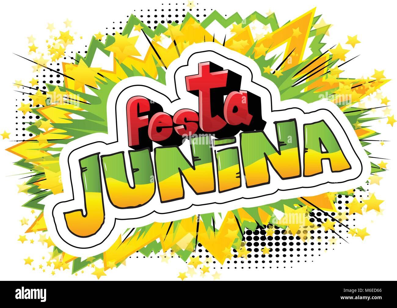Festa Junina Al Estilo De Los Cómics Ilustración Vectorial