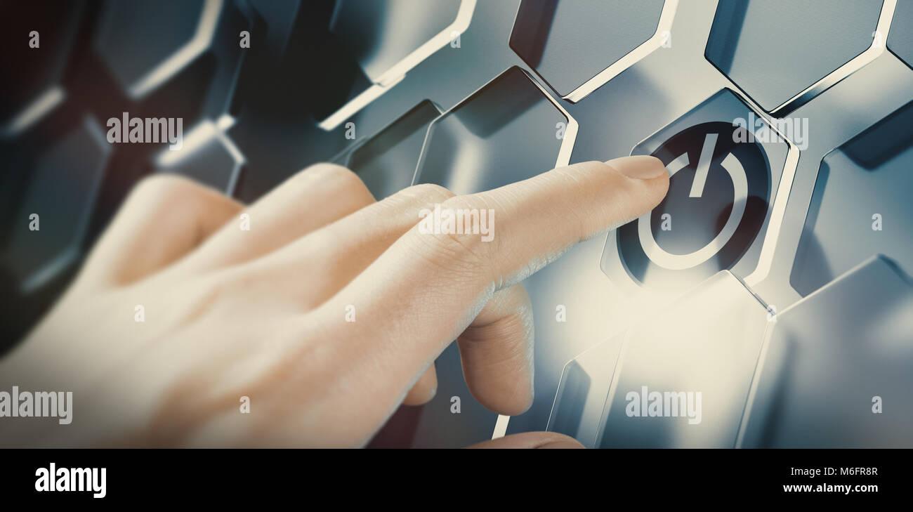 Empujar el dedo del botón de inicio digital en una interfaz futurista. Diseño conceptual de una tecnología Imagen De Stock