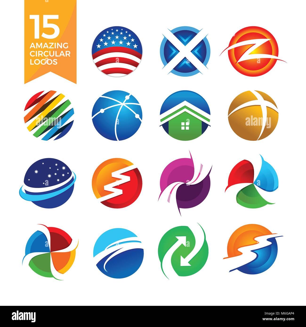 15 Increíbles Logotipos De Forma Circular Símbolo Vector Graphic