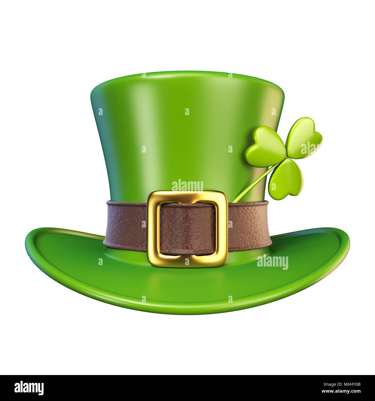 Día de San Patricio verde sombrero con el trébol Vista Frontal 3D Render  ilustración aislado sobre fondo blanco. 15b5ea447b9