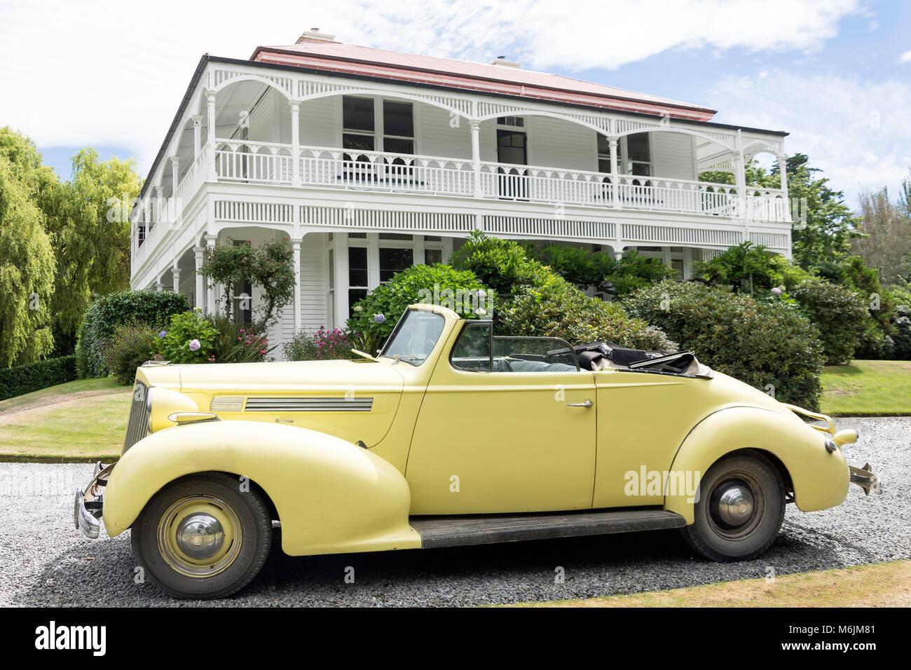 1939 Packard convertible sedan, Homesdale House, Rakaia, Canterbury, Nueva Zelanda Imagen De Stock