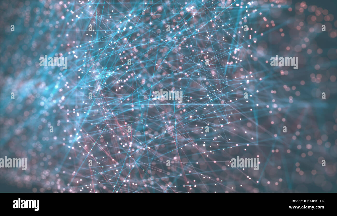Ilustración 3D. Imagen concepto de cloud computing. Las líneas de conexión y transferencia de datos Imagen De Stock