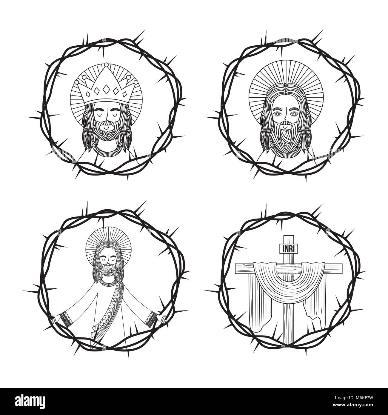 Conjunto De La Sagrada Cruz De Jesús Con Corona De Espinas De Dibujo
