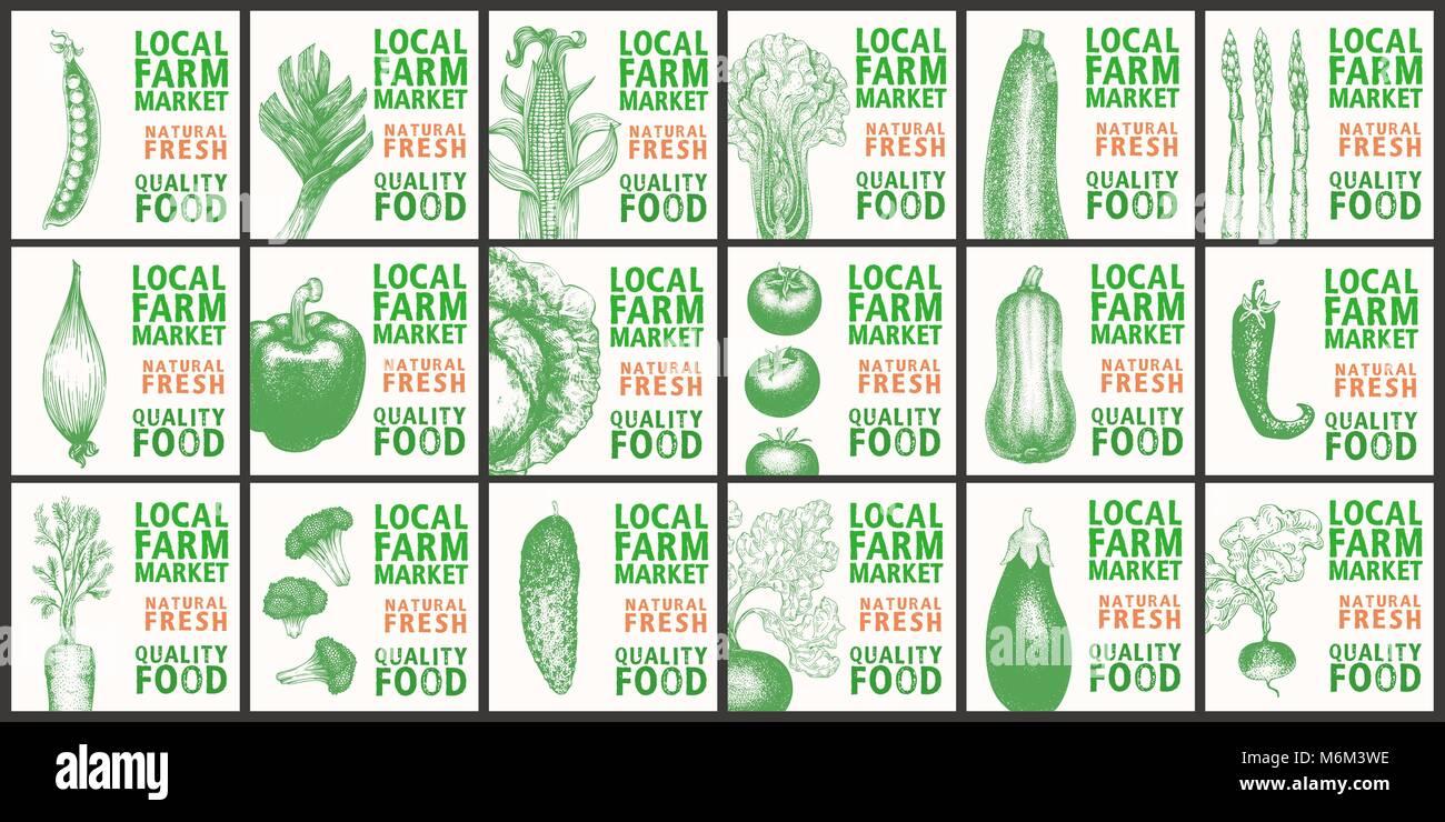 Etiquetas con diversas hortalizas. Plantillas de conjuntos de ...