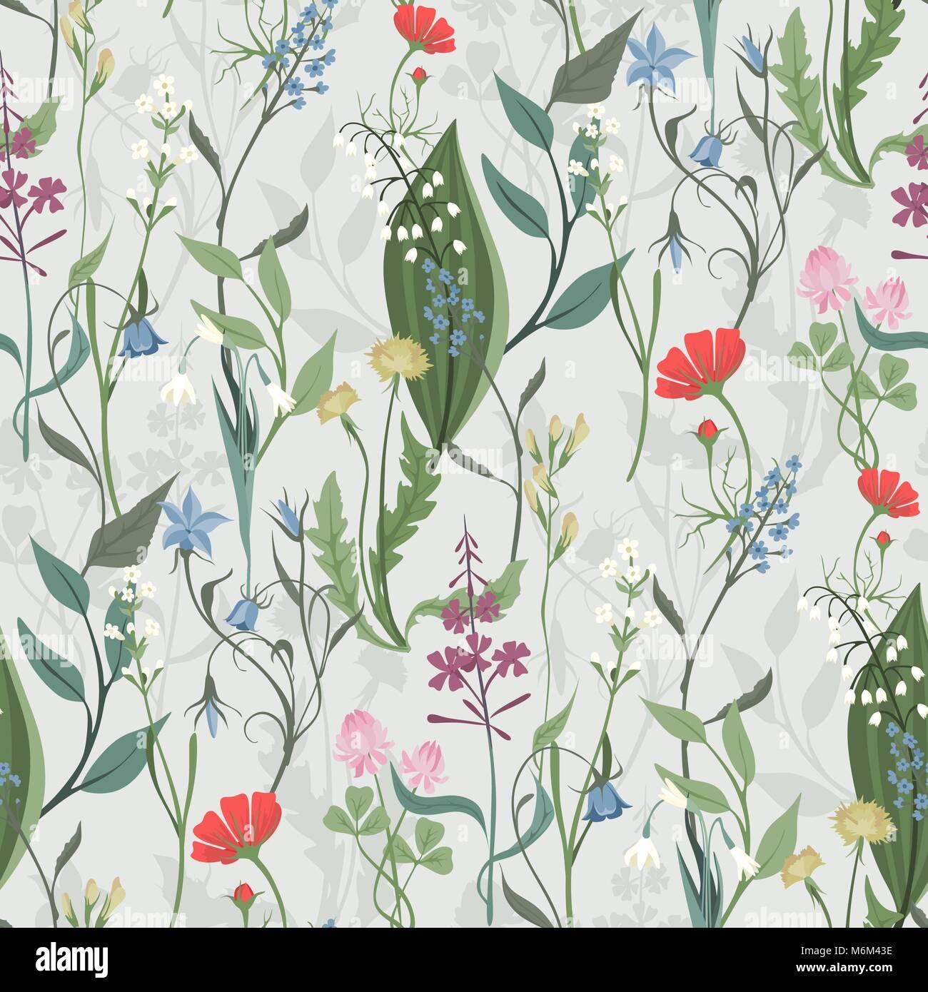 Hierbas Y Flores Silvestres Vector Patron De Textura Fluida Botanica