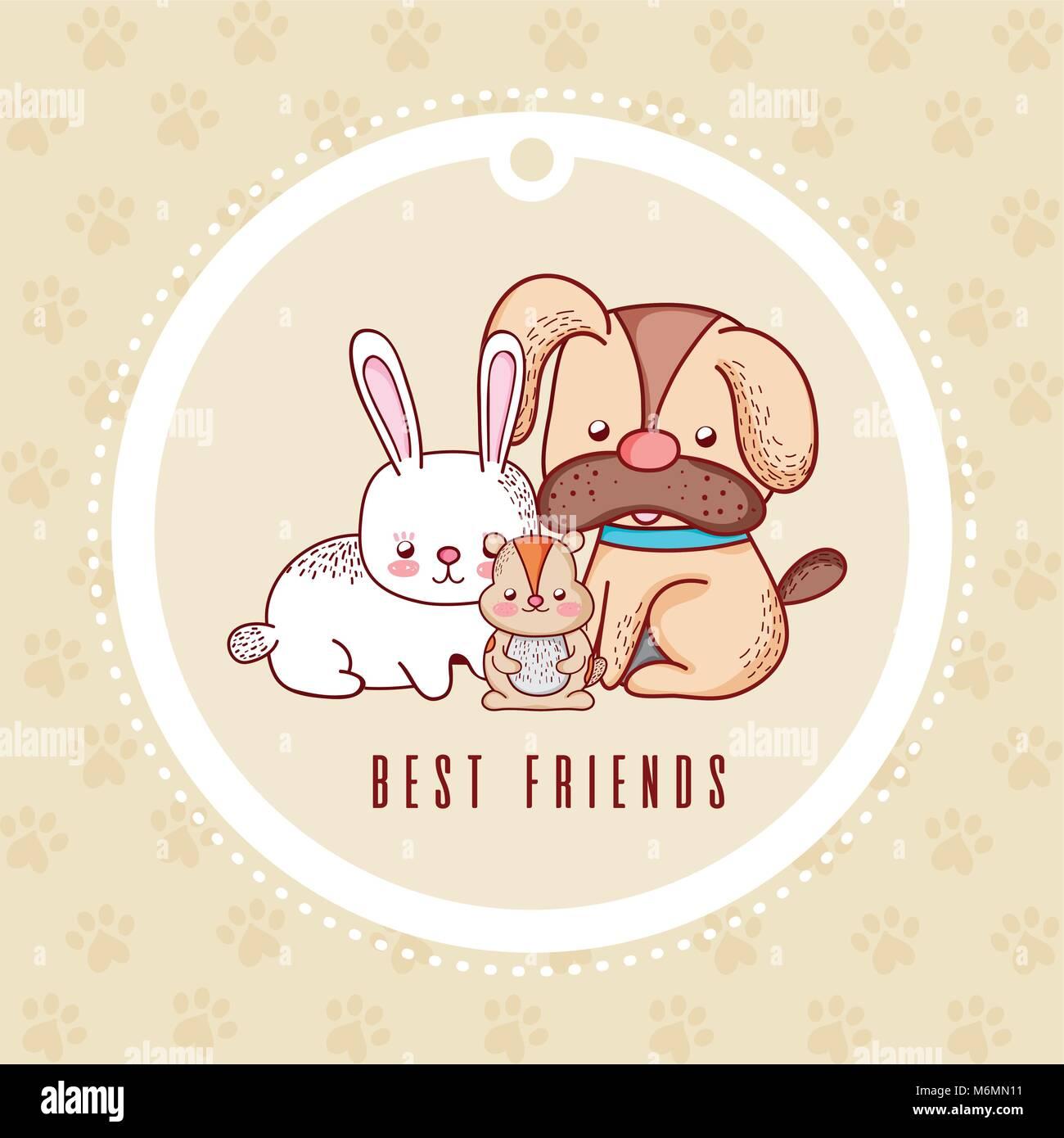 Mejores Amigos Tarjeta Con Mascotas Caricatura Ilustración Vectorial