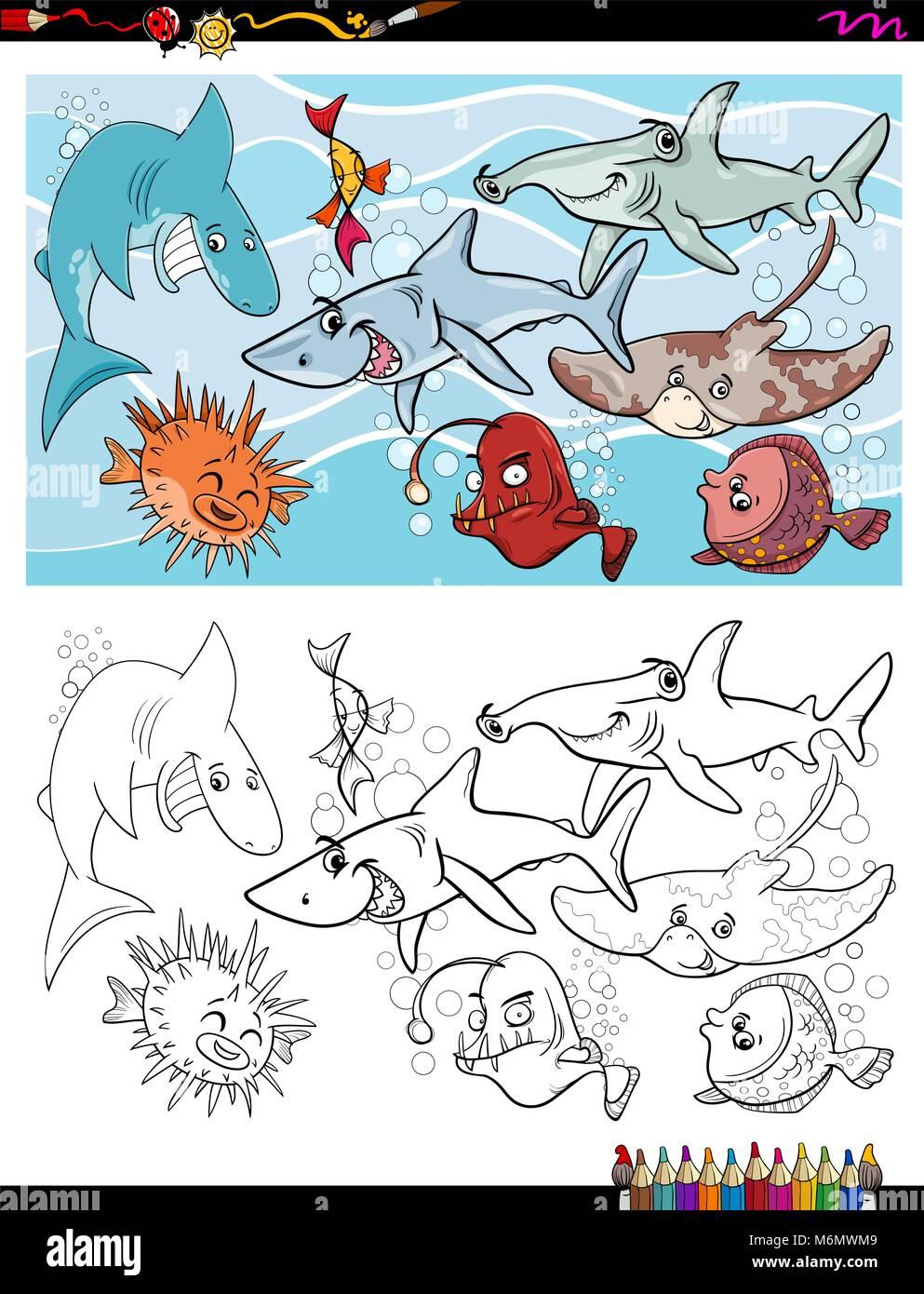 Sea Life Animals Group Coloring Imágenes De Stock & Sea Life Animals ...