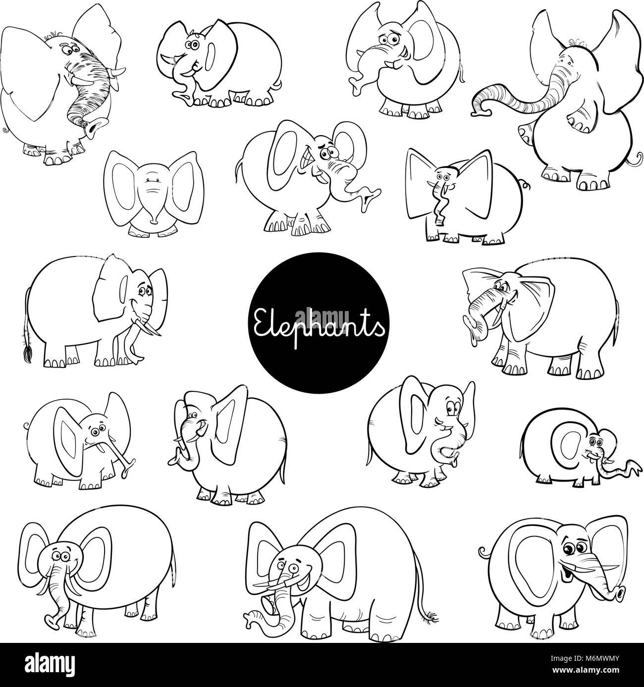 Ilustración caricatura en blanco y negro de personajes de animales ...