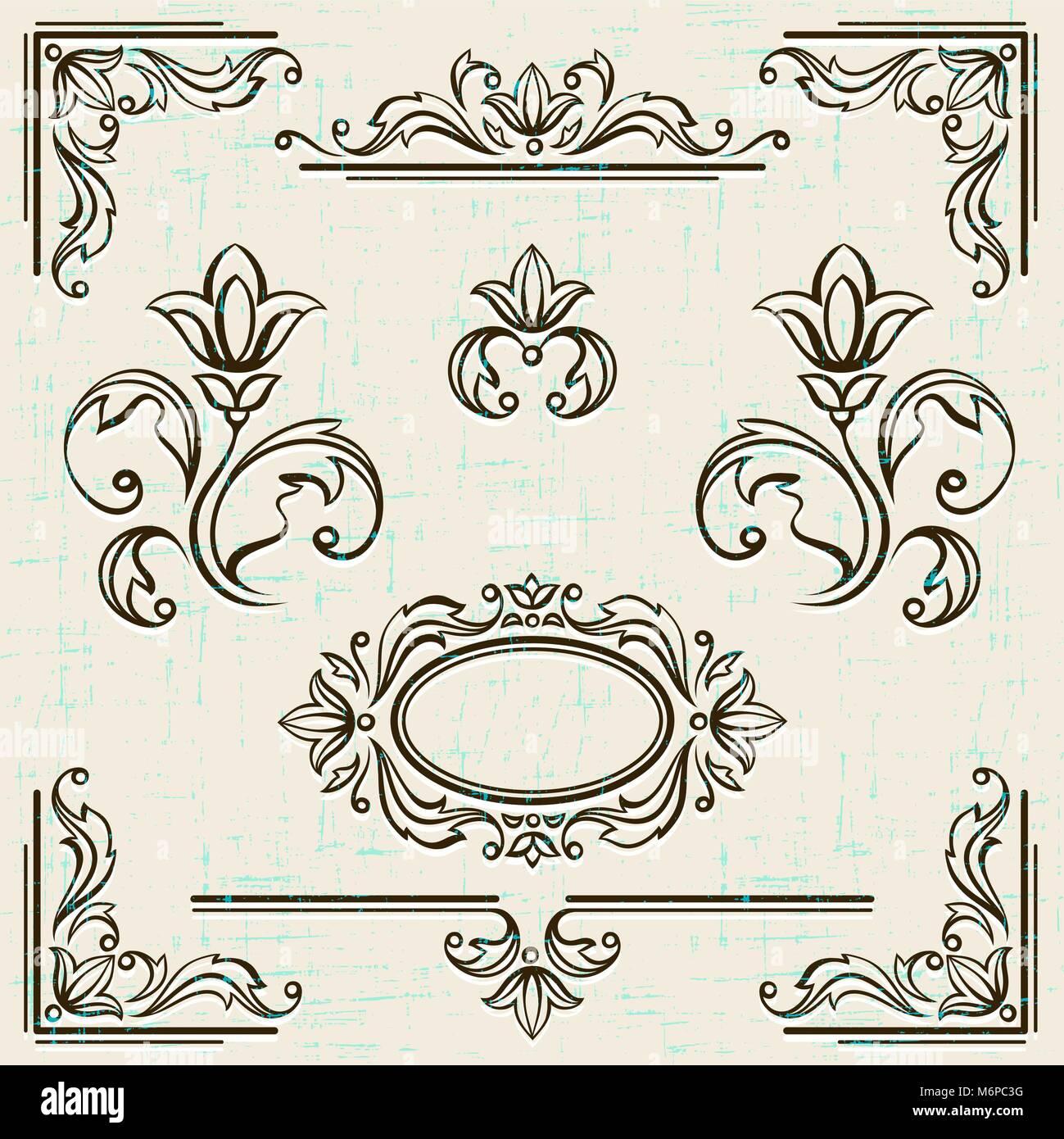 Caligráficos, elementos de diseño y decoración de la página de ...