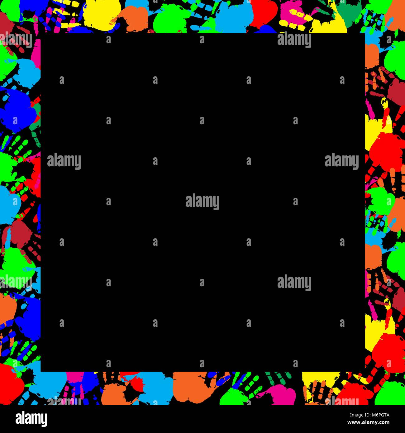 Arco iris de colores de marco de trabajo con copia vacía espacio para texto o imagen y huellas multicolores frontera aislado sobre fondo negro. Vector te festivo Ilustración del Vector
