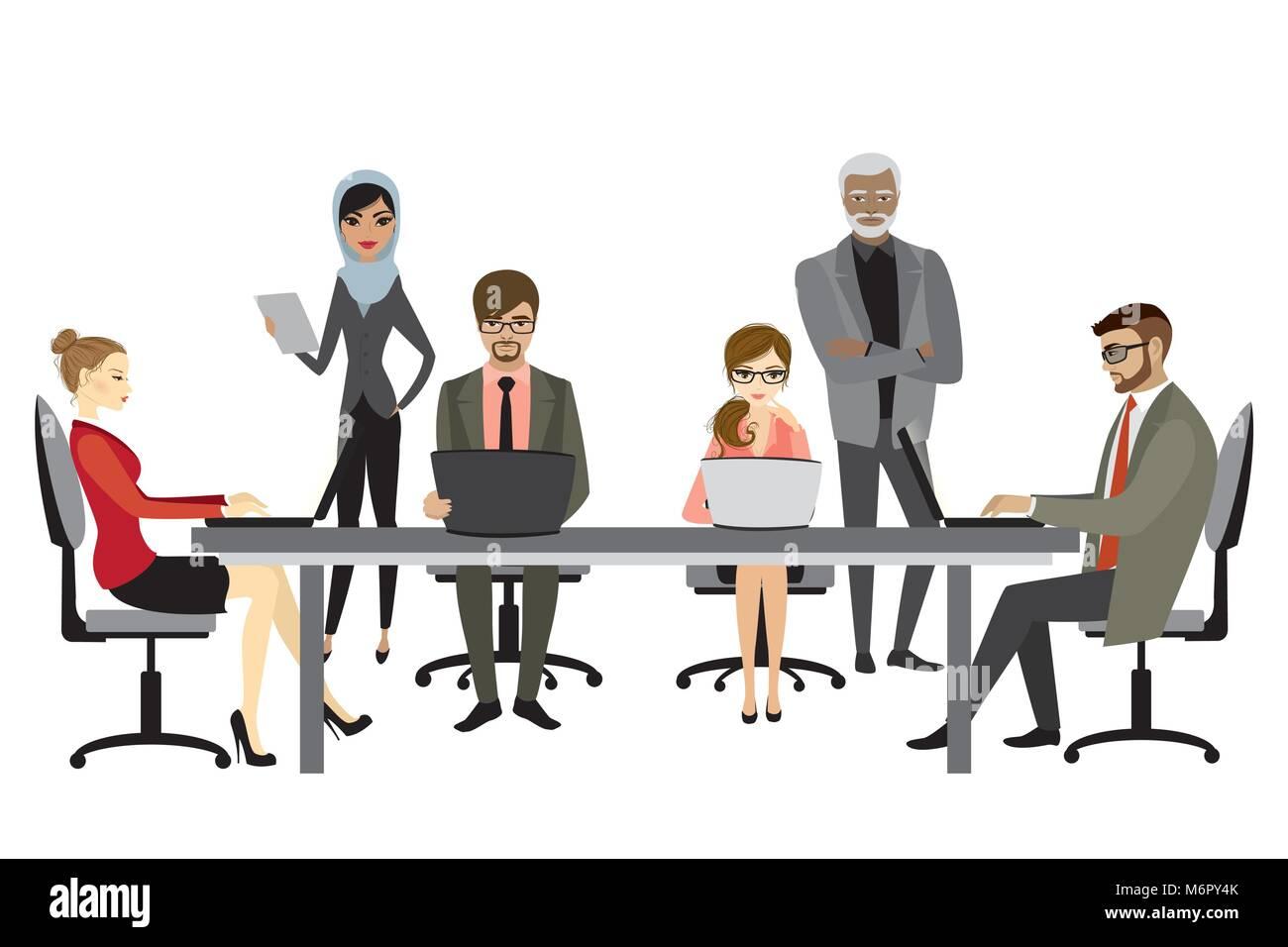 Imagenes De Personas Trabajando En Equipo: Las Personas Trabajando En Equipo Estilo Planas Cartoon