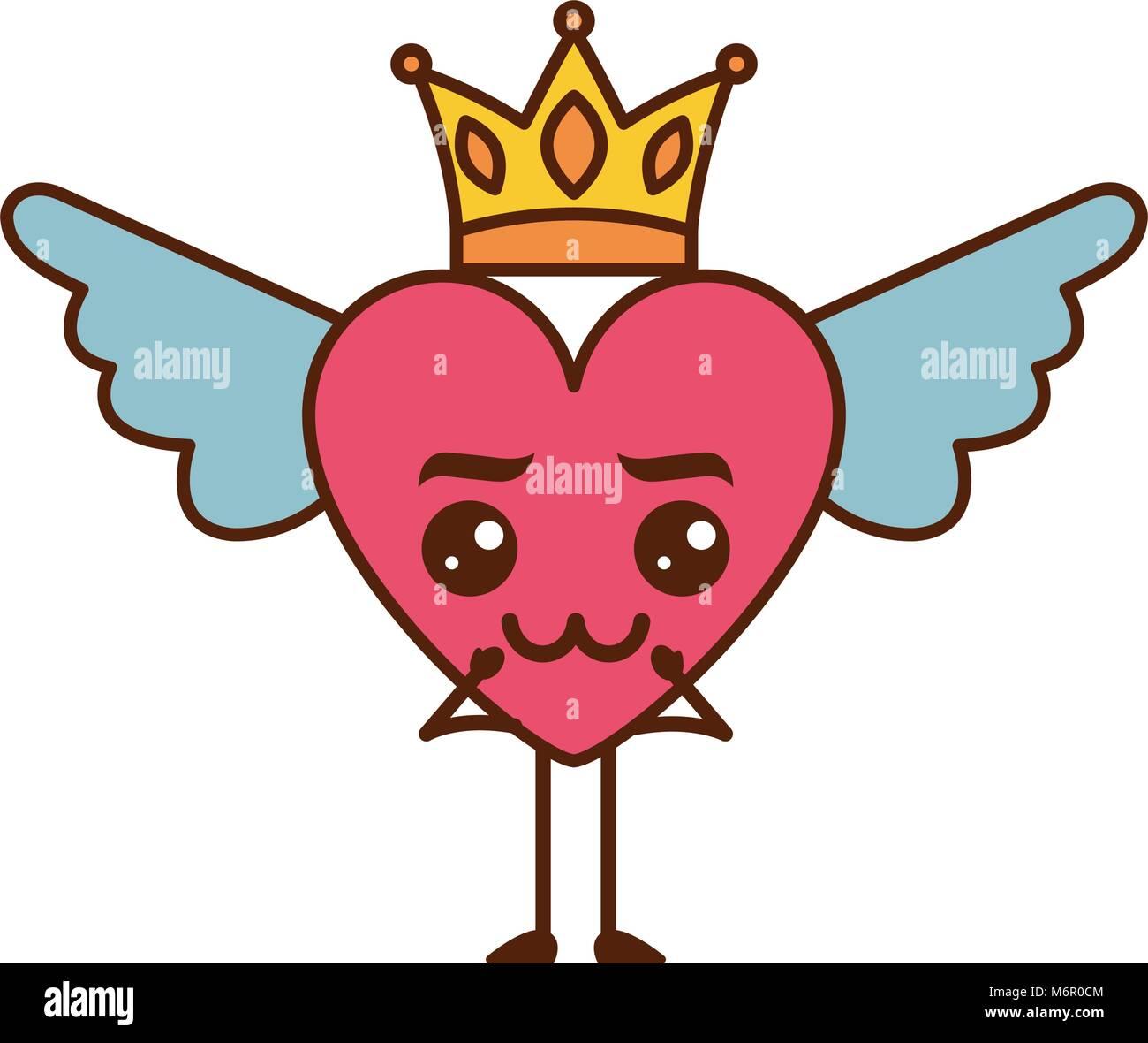 Cartoon Corazón Con Amor Kawaii Alas Y Corona Ilustración Vectorial