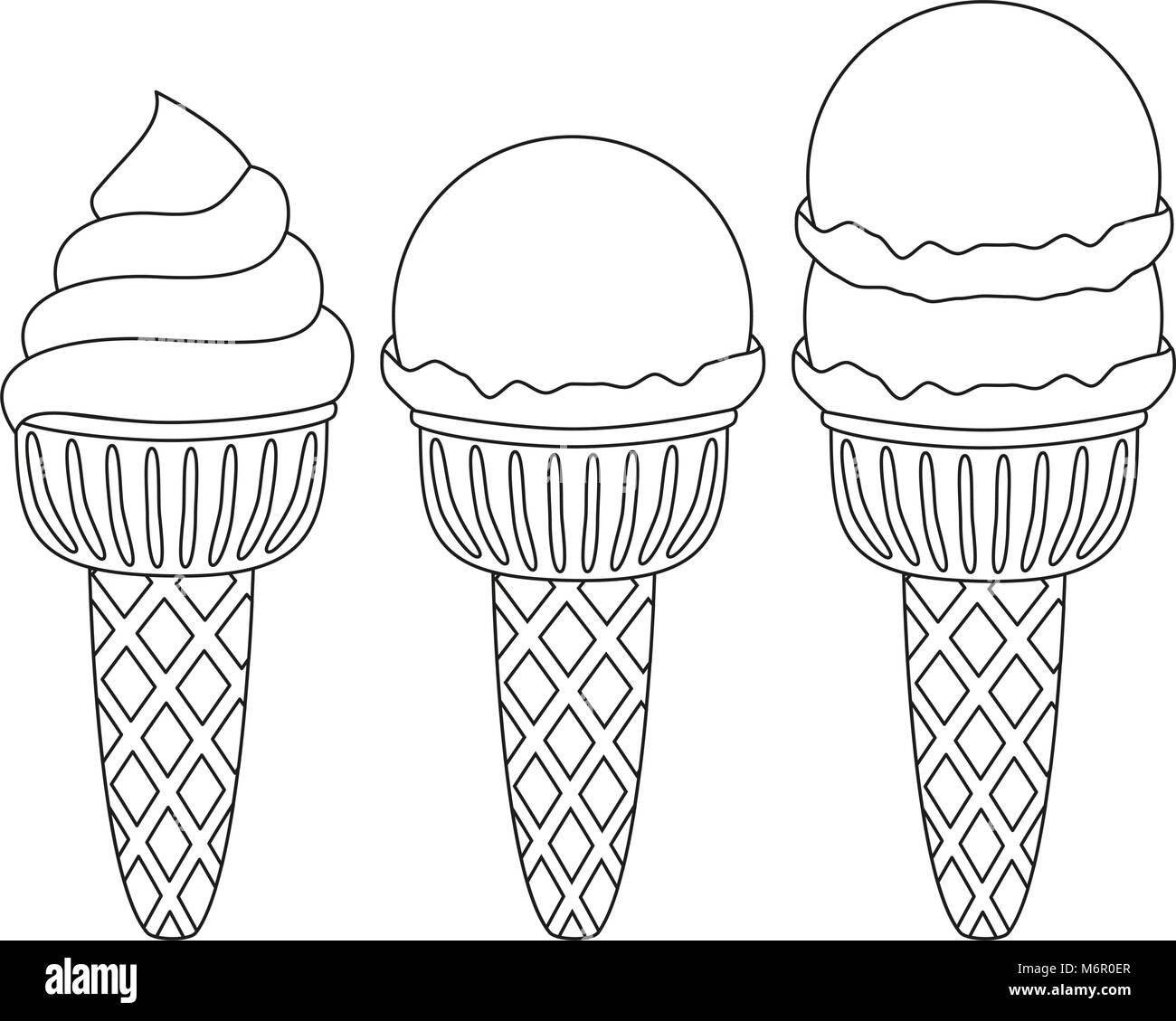 Blanco y negro cono de helado, conjunto de iconos. Página del libro ...
