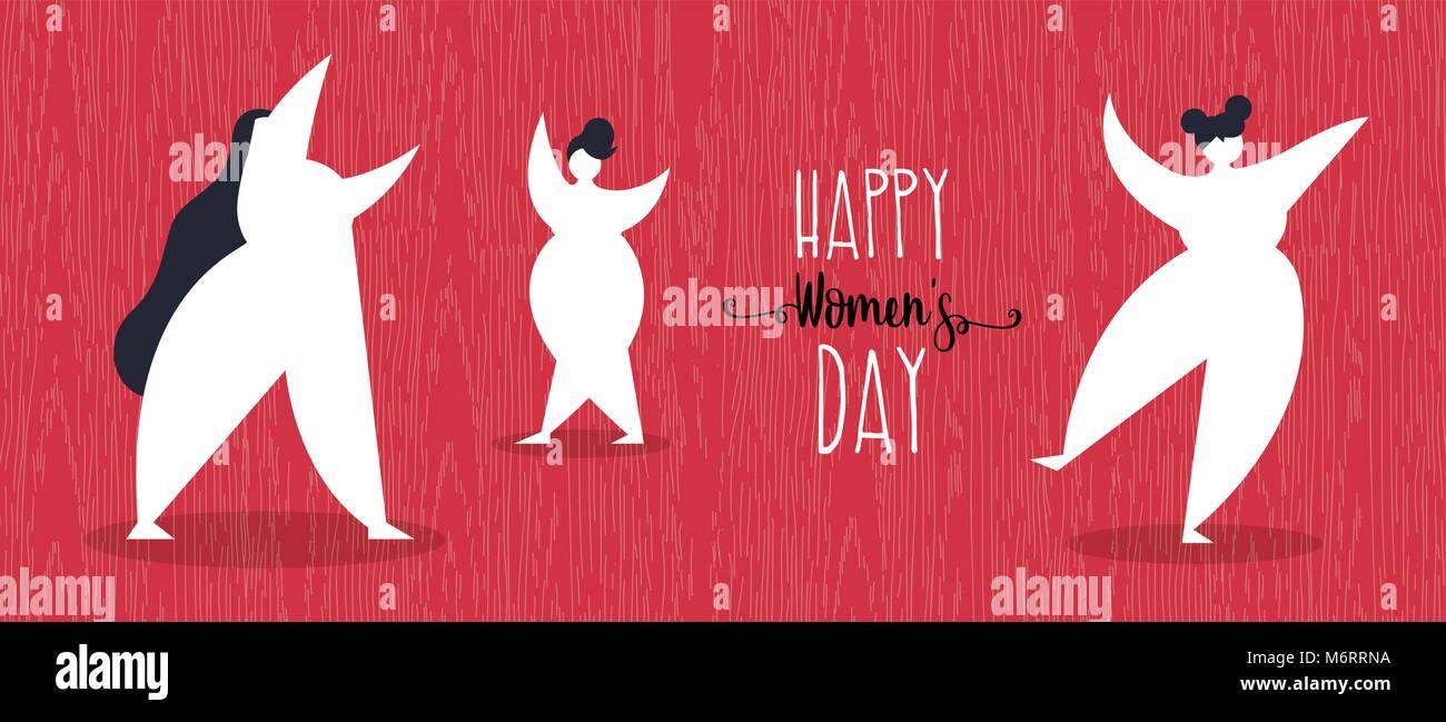 El día de la mujer la ilustración de feliz niñas bailando en estilo ...