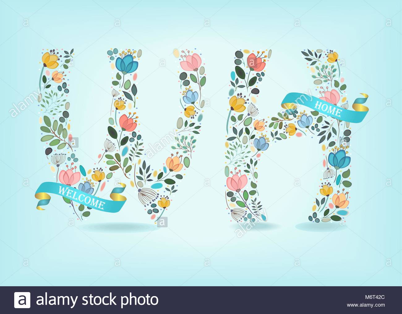 Bienvenido A Casa Notas Florales W Y H Acuarela Graciles Flores Y