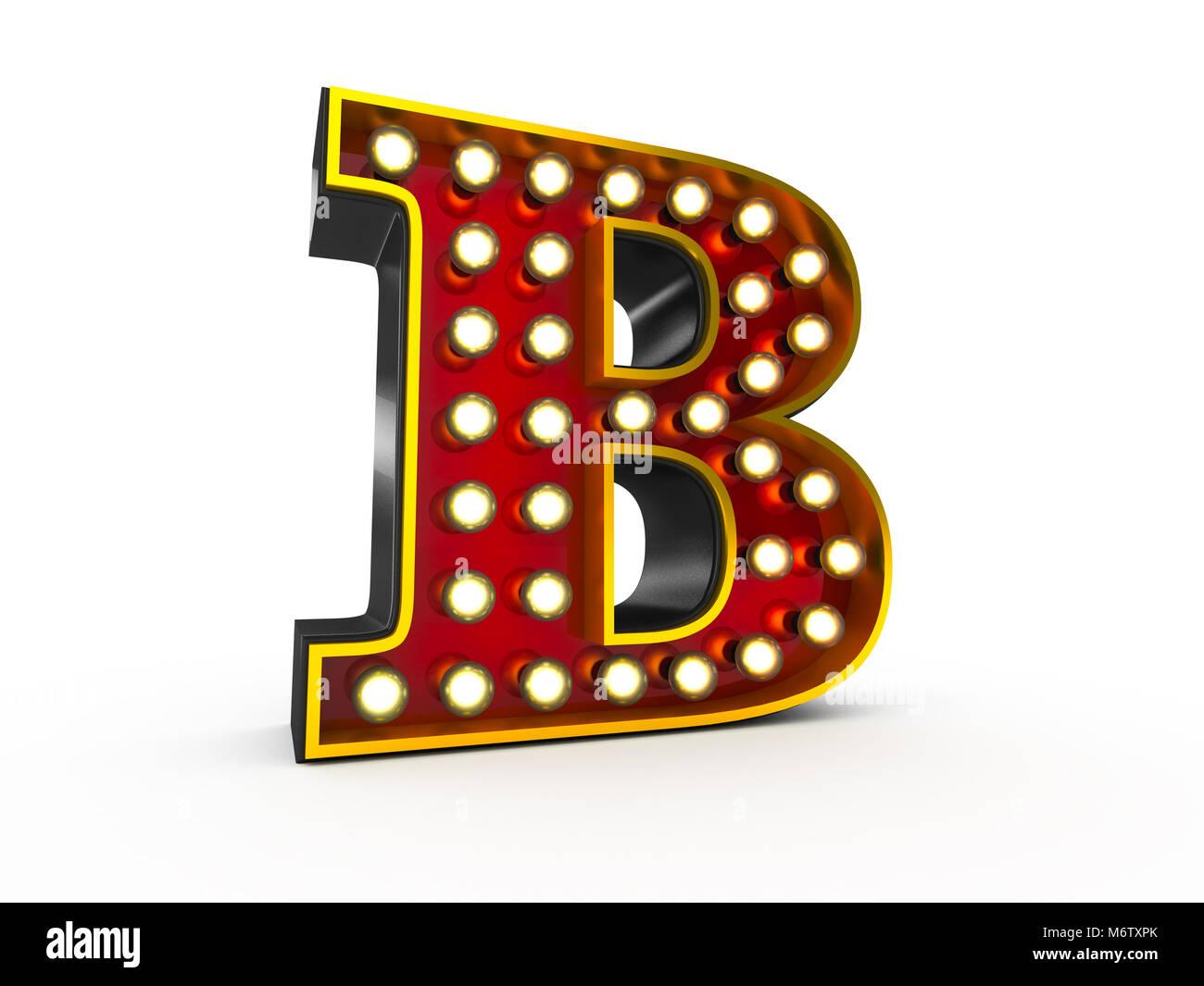 Ilustración 3D de alta calidad de la letra B en estilo Broadway con bombillas iluminando sobre fondo blanco. Imagen De Stock