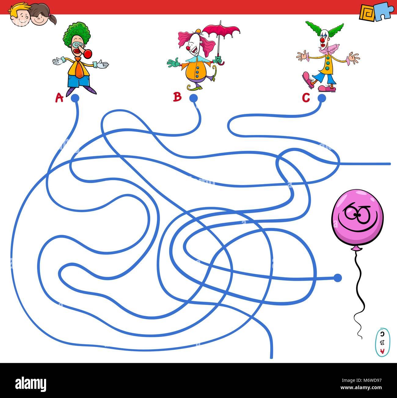 Ilustración de dibujos animados de rutas o laberinto Puzzle juego de ...